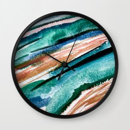 Here's to the Dreamers [2]: a minimal, watercolor abstract piece in pinks, green, blue, and white Wall Clock