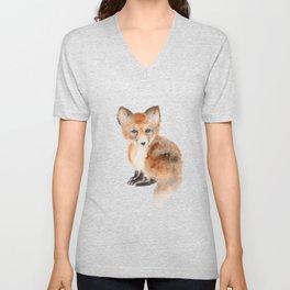 Baby fox watercolor  Unisex V-Neck