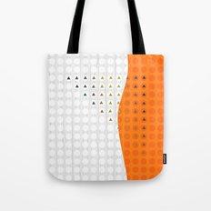 Orange and White Wavy Geometric Dot and Triangle Tote Bag
