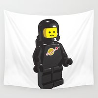 spaceman Wall Tapestries featuring Vintage Lego Black Spaceman Minifig by Greg Koenig