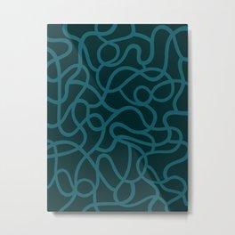 Organic River Lines - Dark Blue Metal Print