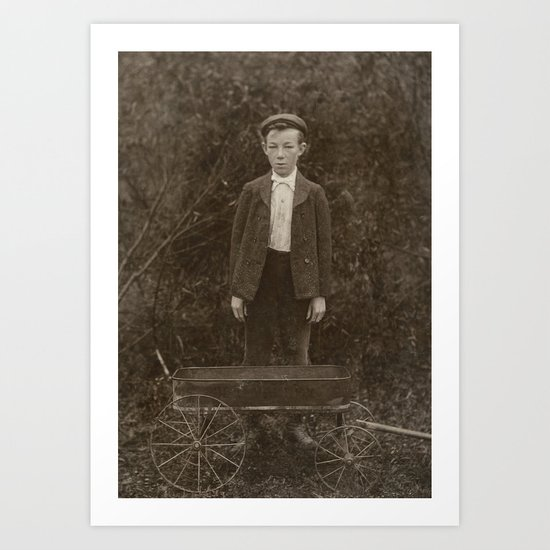 Young Boy with Hat and Wagon - A Vintage Portrait Art Print