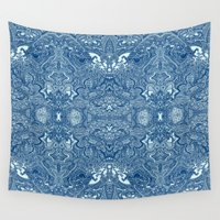 persian Wall Tapestries featuring Persian Rug Blue by Jack Graves III