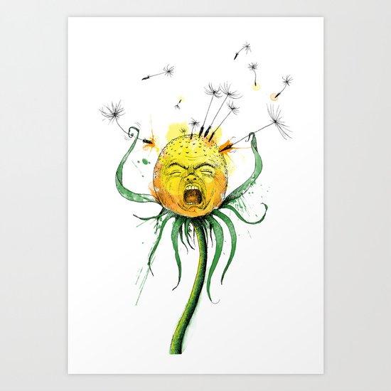 Angry Flower Whimsical Art Art Print