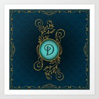 monogram Art Prints featuring Monogram D by Britta Glodde