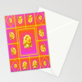 Yellow Roses Rosy Pink Geometric Abstract Stationery Cards