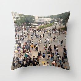 Vintage Shibuya - Shibuya Crossing Tokyo Japan Throw Pillow