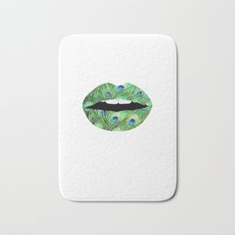 Peacock Feather Pattern Lips Feathers Print Print Mouth Animal Print Bath Mat