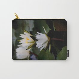 White Lily Flowers In A Pond With Green Lily Pads Carry-All Pouch