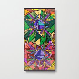 Stained Glass Pot Leaves Metal Print