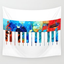 Colorful Piano Art by Sharon Cummings Wall Tapestry