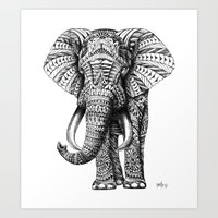 one line Art Prints featuring Ornate Elephant by BIOWORKZ