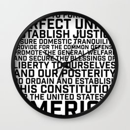American Constitution Preamble Wall Clock