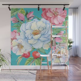 Elegant, Chic Floral Print on Eggshell Blue Wall Mural