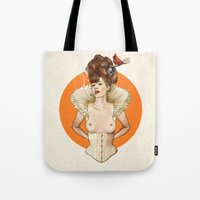 virginia Tote Bags featuring Miss Virginia by keith p. rein