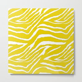 Zebra Golden Yellow Metal Print