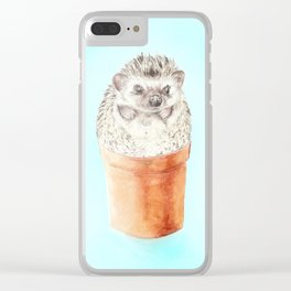 Hedgehog Watercolor Cactus Terra Cotta Pots Clear iPhone Case