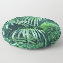 Tropical Botanic Jungle Garden Palm Leaf Green Floor Pillow