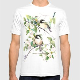 Chickadees and Dogwood Flowers T-shirt