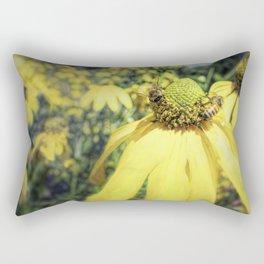Bees on Yellow Flower Rectangular Pillow