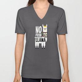 No Prob-Llama Unisex V-Neck
