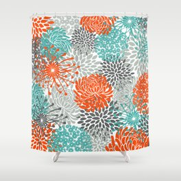 Orange and Teal Floral Abstract Print Shower Curtain