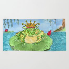 Frog King Beach Towel