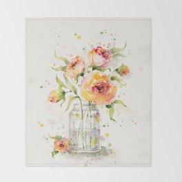 A Jar Of Joy (flowers) Throw Blanket