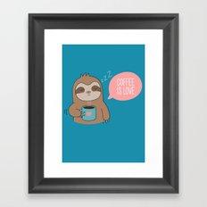 Coffee Loving Kawaii Cute Sloth Framed Art Print