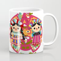 mexican Mugs featuring Mexican Dolls by Alapapaju