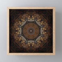 Rich Brown and Gold Textured Mandala Art Framed Mini Art Print