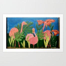 Flamingos in the Jungle Art Print