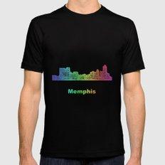 Rainbow Memphis skyline MEDIUM Black Mens Fitted Tee