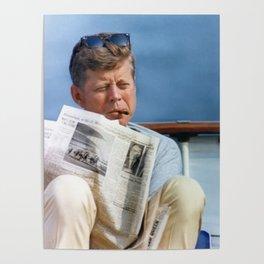 John F Kennedy Smoking Poster