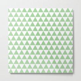 Mint Triangle Pattern Metal Print