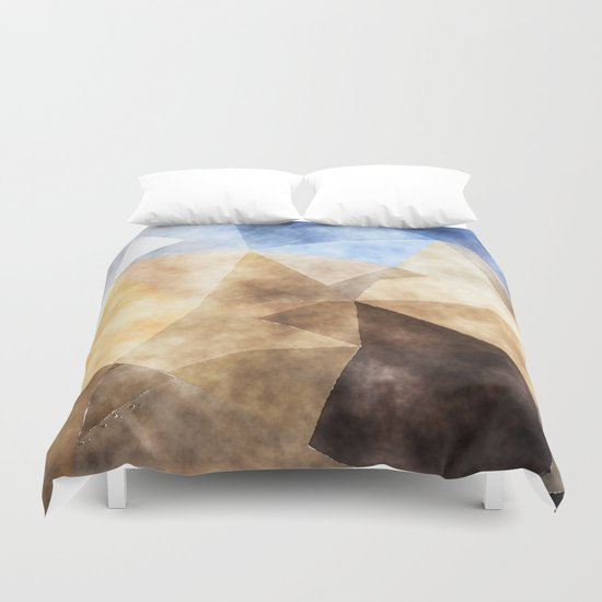 On the fields- Abstract watercolor triangle pattern Duvet Cover