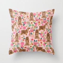 Cocker Spaniel dog breed florals pattern dog art pet portraits by pet friendly Throw Pillow