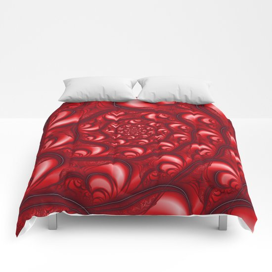 Fractal Web in Red White and Black Comforters