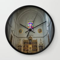 real madrid Wall Clocks featuring Almudena Cathedral, Madrid by Svetlana Korneliuk