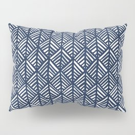 Abstract Leaf Pattern in Blue Pillow Sham