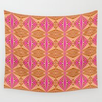 hot pink Wall Tapestries featuring Feathers on Hot Pink by naturessol