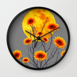 Red Gold Color Fantasy Sunflowers  Flowers Moon  Art Wall Clock