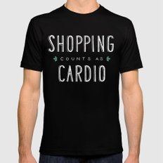 Shopping Counts As Cardio LARGE Mens Fitted Tee Black