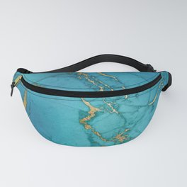 Blue and gold marble stone print Fanny Pack