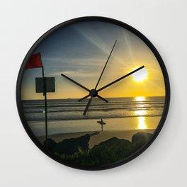 Sunset on Coronado Beach, California Wall Clock