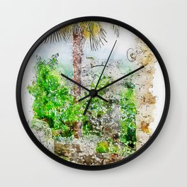 Aquarelle sketch art. Ancient stone buildings and palm tree in Istria, Croatia Wall Clock