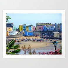 Tenby Harbour.Colour.Reflection. Art Print