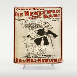Vintage poster - The Newlyweds and their Baby Shower Curtain