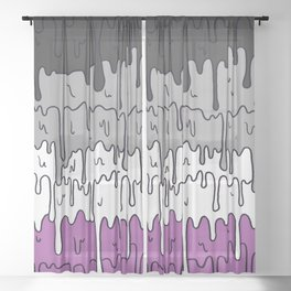 Cute Pride Pastel Melting Pride Design, Asexual  flag Sheer Curtain