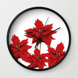 Red Poinsettia flower Wall Clock